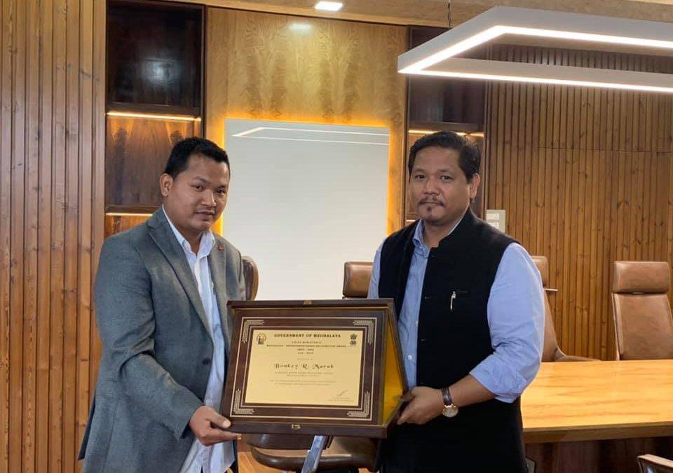 Presented the 4th Entrepreneur of the month award to Bonkey R. Marak