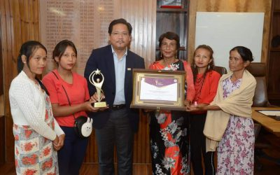 Presented the 6th Entrepreneur of the month award to Smti. Daplin Rymbai